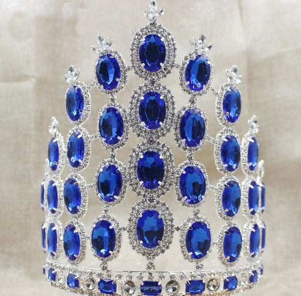 Gorgeous Pageant Large Tiara Crown Royal Blue Rhinestones