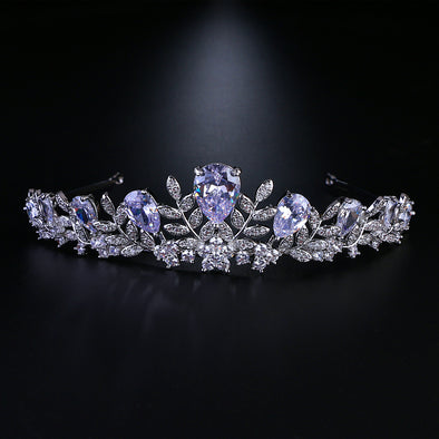 Cubic Zircon Wedding Tiara Leaf Shape Bridal Crown