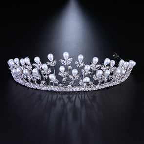 Wedding Bridal Pearl Crown Tiara Women Fashion Jewelry Hair Accessories