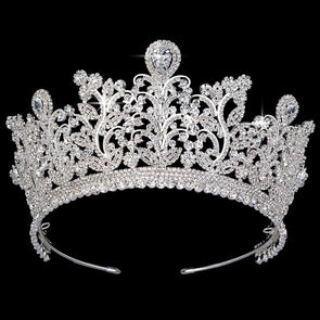 AAA CZ Wedding Crowns Luxury Rhinestone Bridal Hair Tiaras Flowers