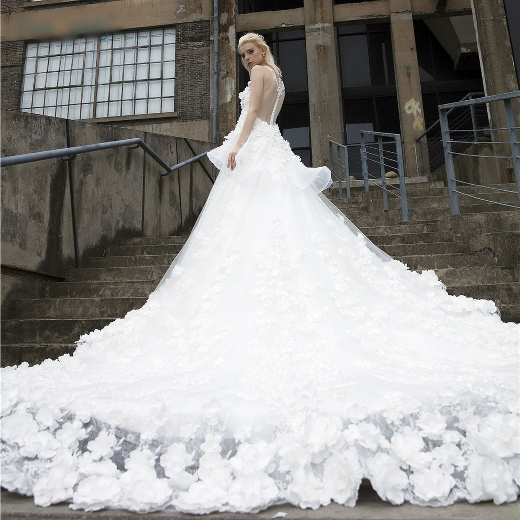 a2b8fd2576 Vintage Wedding Dresses Cathedral Train Ball Gown Real Luxury Flower Pearls Bridal  Gown Long Tulle Custom