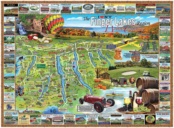 Finger Lakes (larger pieces) White Mountain 1000 pc Jigsaw Puzzle