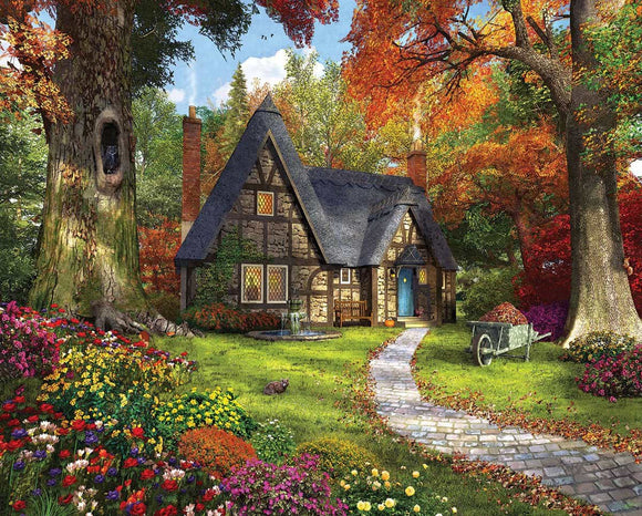 Autumn Cottage (larger pieces) White Mountain 1000 pc Jigsaw Puzzle
