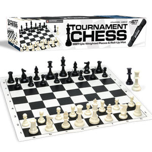 CHESS: Vinyl Chess Set with Triple Weighted Pieces and Carrying Bag