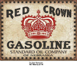 Red Crown Gasoline Vintage Style Tin Sign