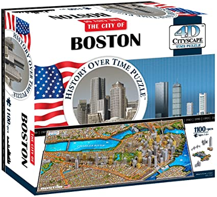 4D Puzzles - BOSTON: History Over Time Puzzle- 4D Cityscape 1100 pcs jigsaw puzzle