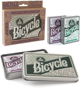 Playing Cards: Collector's Tin 2 Premium Decks Green & Purple - Bicycles