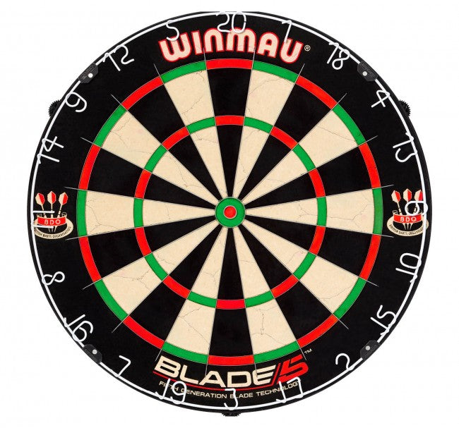 Winmau Blade 5 Dartboard and 2 Sets of Designa Patriot Darts/Red Dragon Tungsten Darts