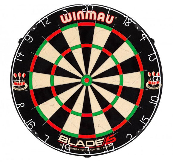 Winmau Blade 5 Dartboard and 2 Sets of Red Dragon Tungsten Darts