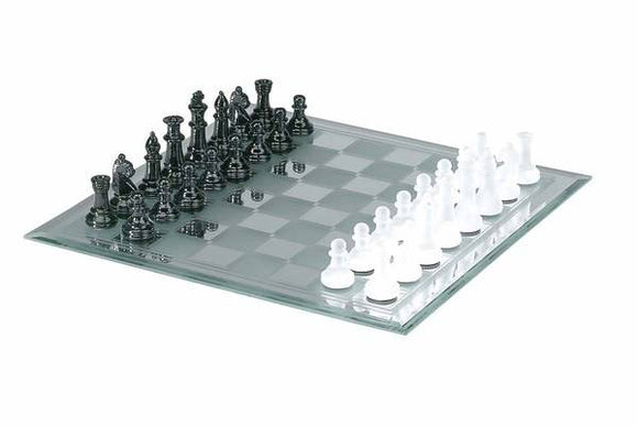 Chess: Black & White Frosted Mirror Chess Set - CHH