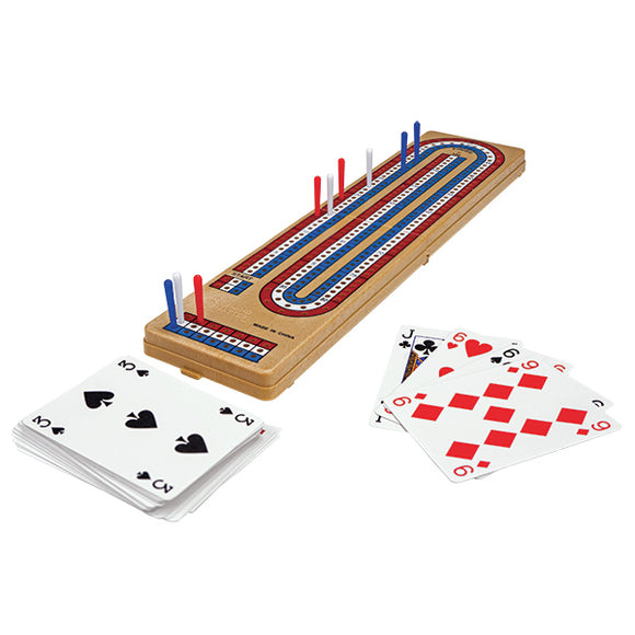 Cribbage: Foldable 3 Lane Cribbage Board with Piatnik Playing Cards