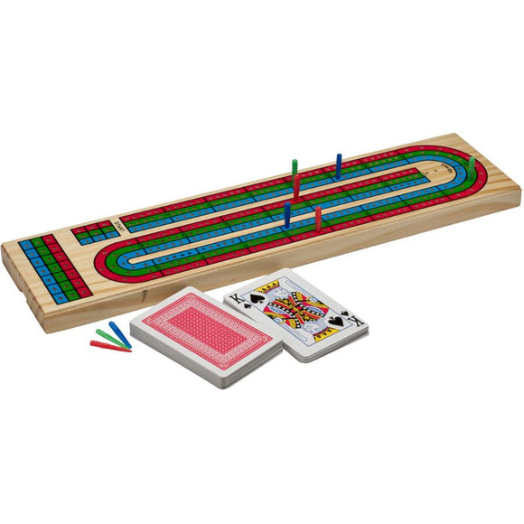 Cribbage - Board - 3 Colour Track With Cards