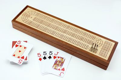 NEW ARRIVAL: Cribbage: Wooden Cribbage Board & Piatnik Playing Cards - Mind Matters