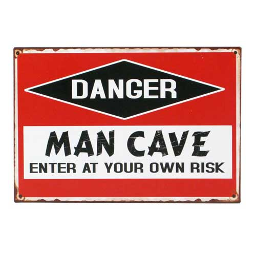 Danger Man Cave Vintage Distressed Tin Sign