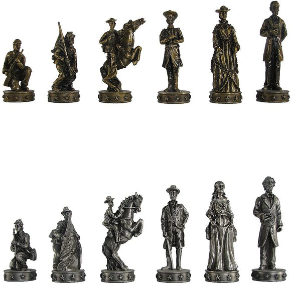 Pewter Civil War Chess Pieces