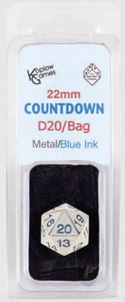 DICE 22mm Countdown D20 Metal Blue W / Bag