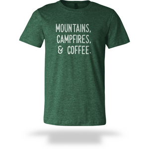 Mountains, Campfires, or Coffee Tee - Short Sleeve