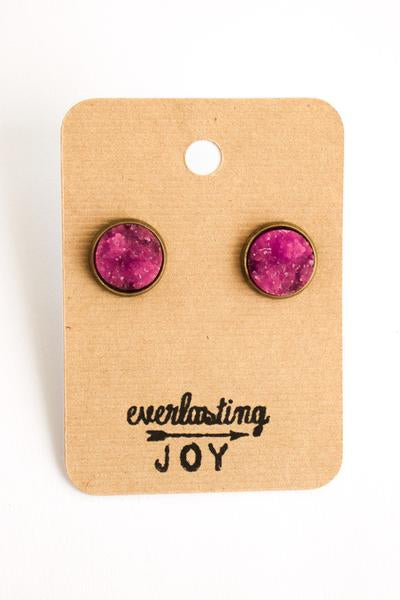 Sunshine & Whiskey Studs - Fuchsia