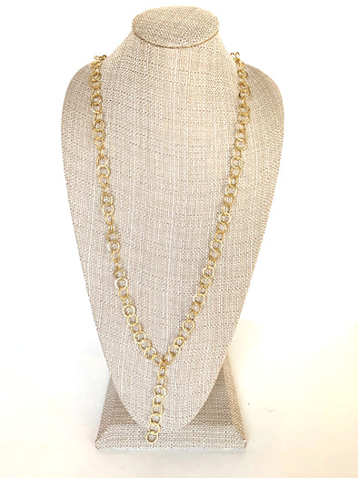Gold Hammered Y Necklace