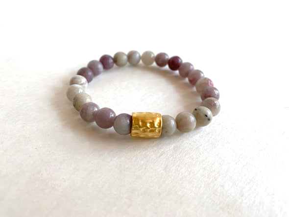 Lilac Stone Bracelet with Hammered Tube