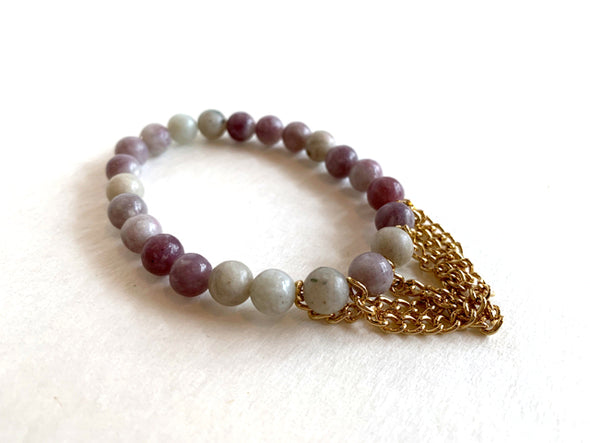 Lilac Stone Bracelet with Chain