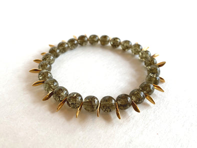 Crackle Glass Bracelet with Spikes