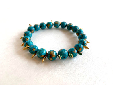 Turquoise Magnesite Bracelet with Spikes