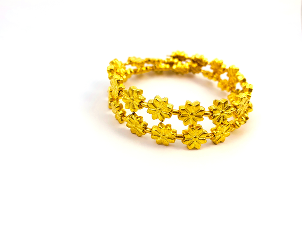 Walk This Way Wrap Bracelet - Gold Flowers