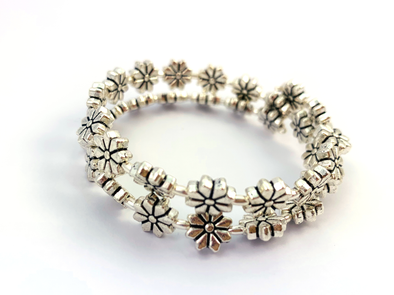 Walk This Way Wrap Bracelet - Silver Flowers