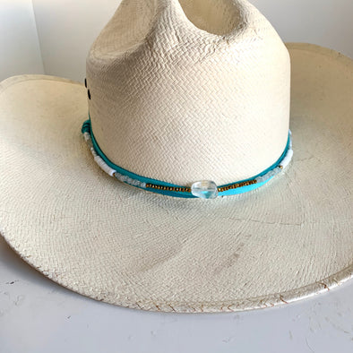 Hat Wrap - Turquoise & White