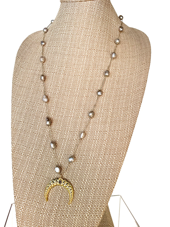 Silver Pearl Night Necklace