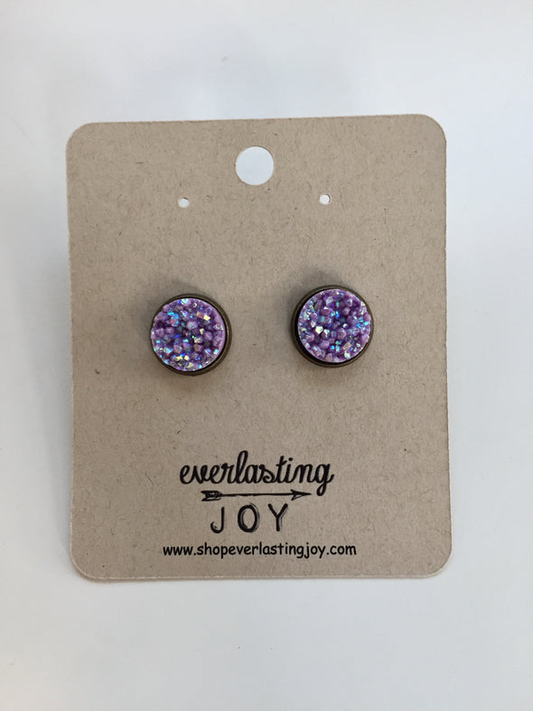 Sunshine & Whiskey Studs - Milky Purple
