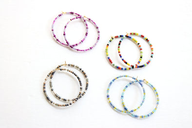 Bitty Beaded Hoops (Purple & Blue Available)