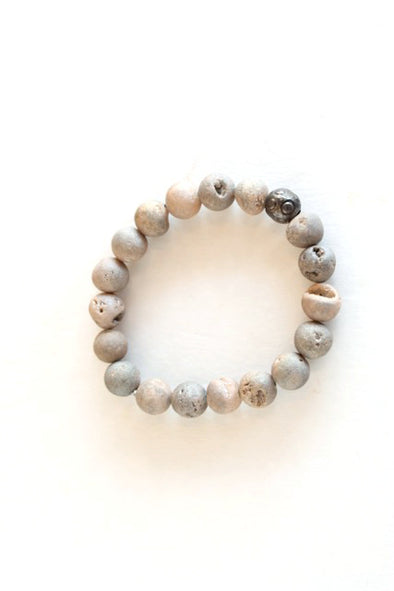 Metallica Peachy Grey Bracelet w/ Gunmetal Bead