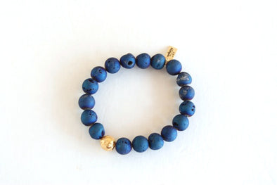 Metallica Blue Bracelet w/ Gold Bead