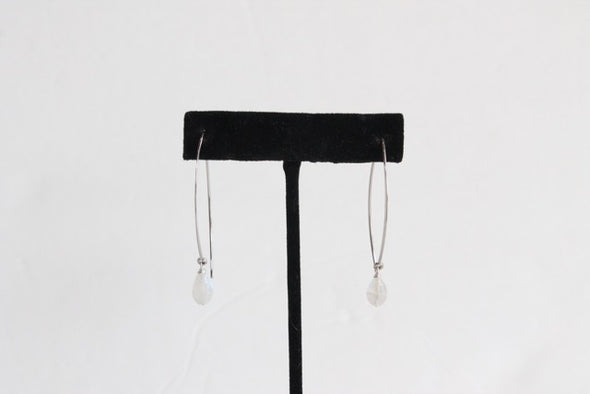 Hanging by a Thread Earrings (Gold/Clear Moonstone)