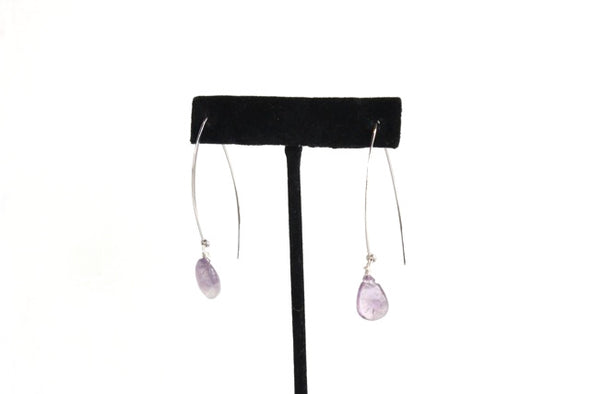 Hanging by a Thread Earrings (Silver/Amethyst)