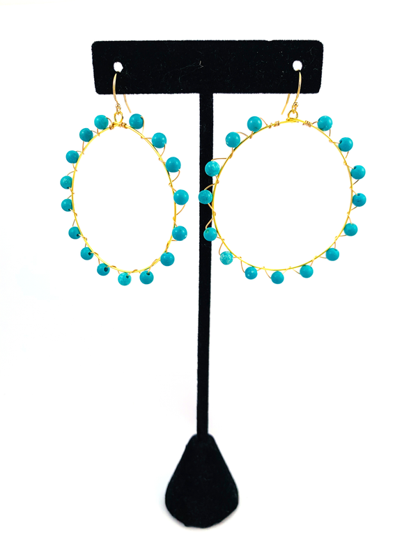 Wrap and Roll Hoops - Gold & Turquoise