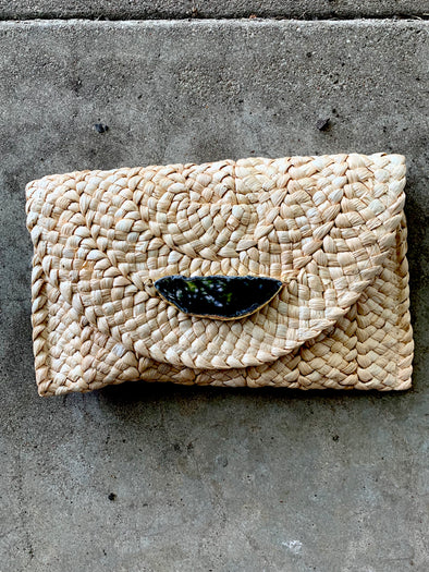 Such a Gem Clutch Basketweave Black Agate Slice