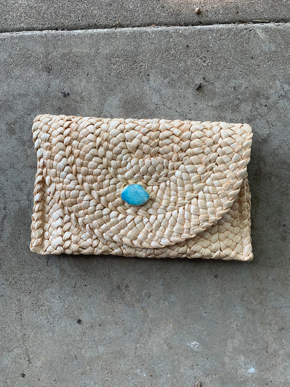 Such a Gem Clutch Basketweave Blue Amazonite