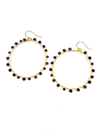 Wrap and Roll Hoops - Gold & Amethyst