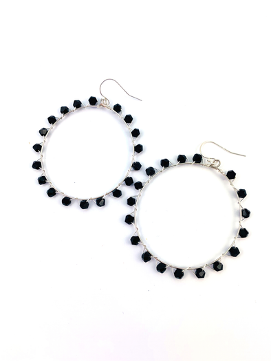 Wrap and Roll Hoops - Silver & Black Glass