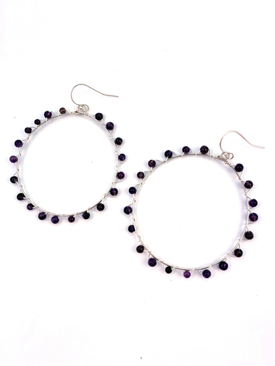 Wrap and Roll Hoops - Silver and Amethyst