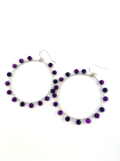 Wrap and Roll Hoops - Silver & Purple Riverstone