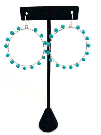 Wrap and Roll Hoops - Silver & Turquoise