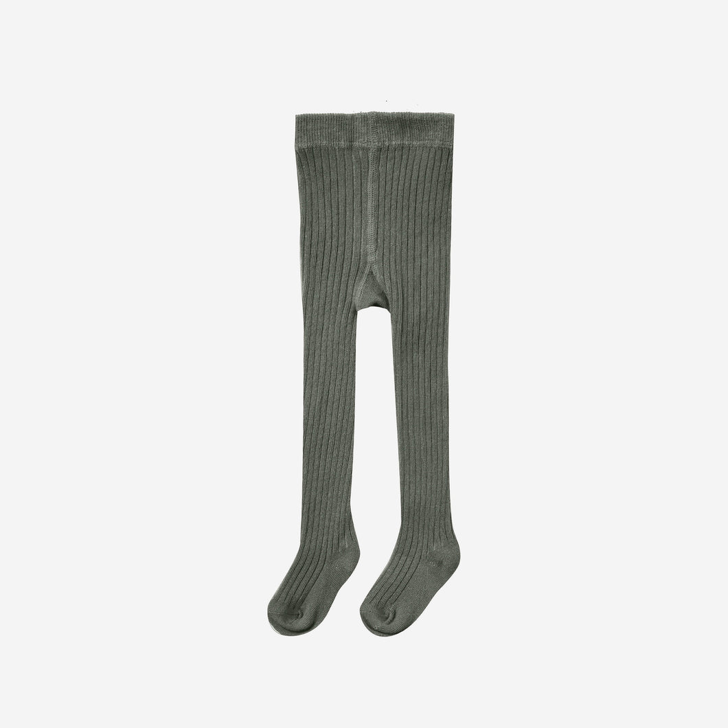 Solid Ribbed Tights Forest | Rylee + Cru