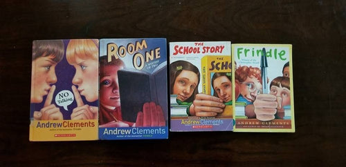 Andrew Clements books lot of 4: Frindle (Paperback) The School Story (Paperback) Room One (Hardcover) No Talking (Hardcover)