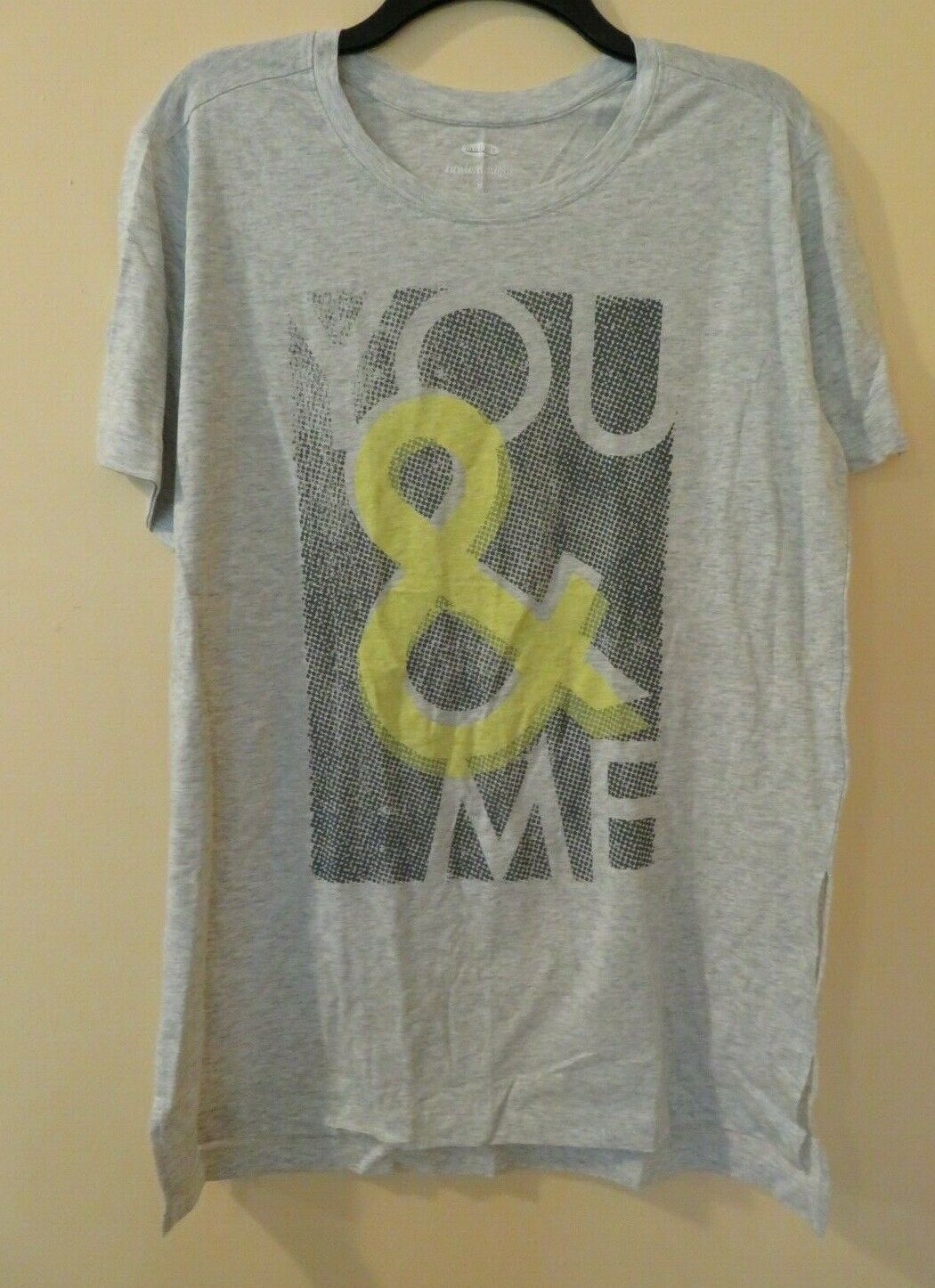Old Navy Women's T-Shirt Top Size M Tunic Gray Yellow 100% Cotton NEW You & Me