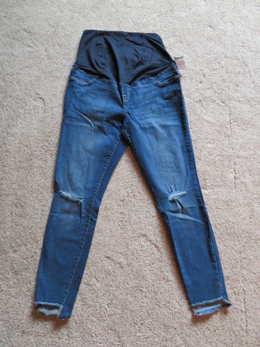 NEW Maternity Jeans Size 8 Isabel Denim Skinny  Blue Distressed Look