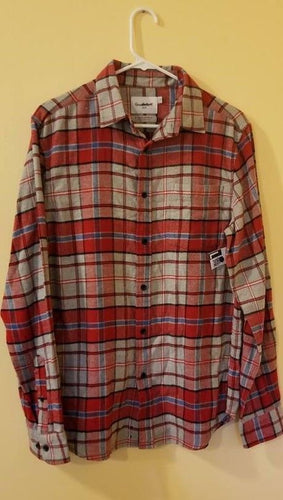 NEW Men's Flannel Shirt Plaid Size Small Goodfellow Red/Gray/Blue